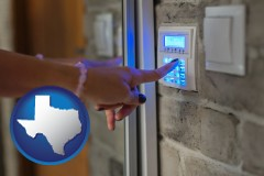 texas map icon and woman pressing a key on a home alarm keypad